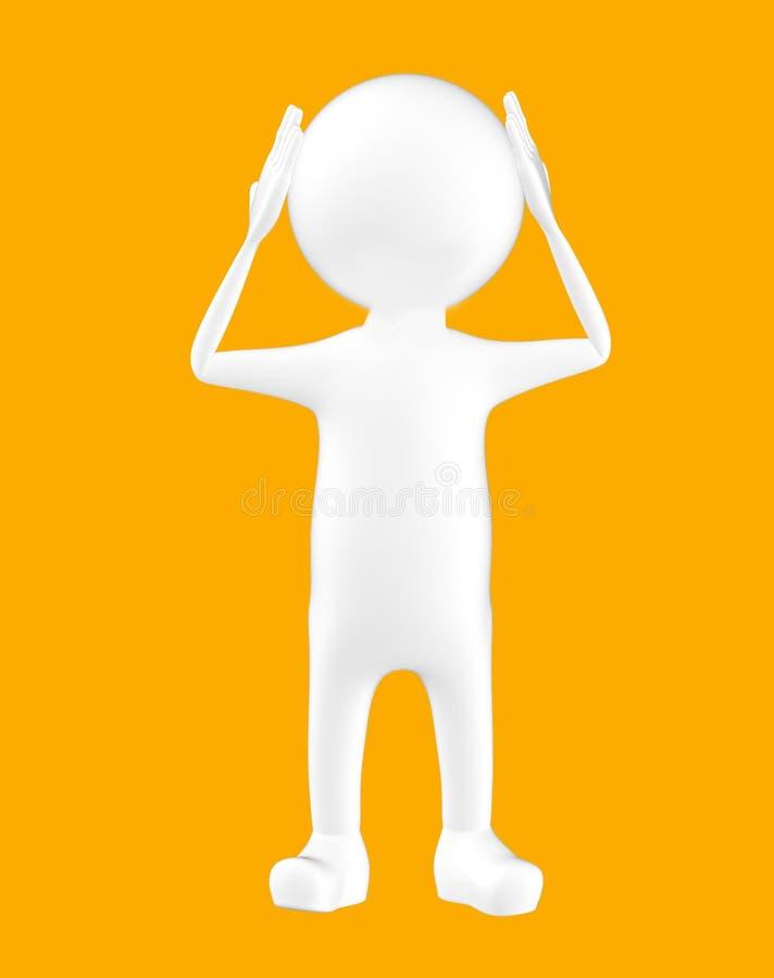 3d biały charakter trzyma jego ręki na jego głowa ilustracji