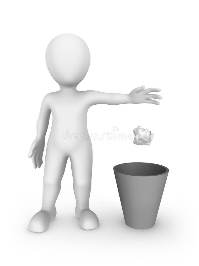 3d biały człowiek rzuca śmieci w przetwarzającego kosz ilustracji