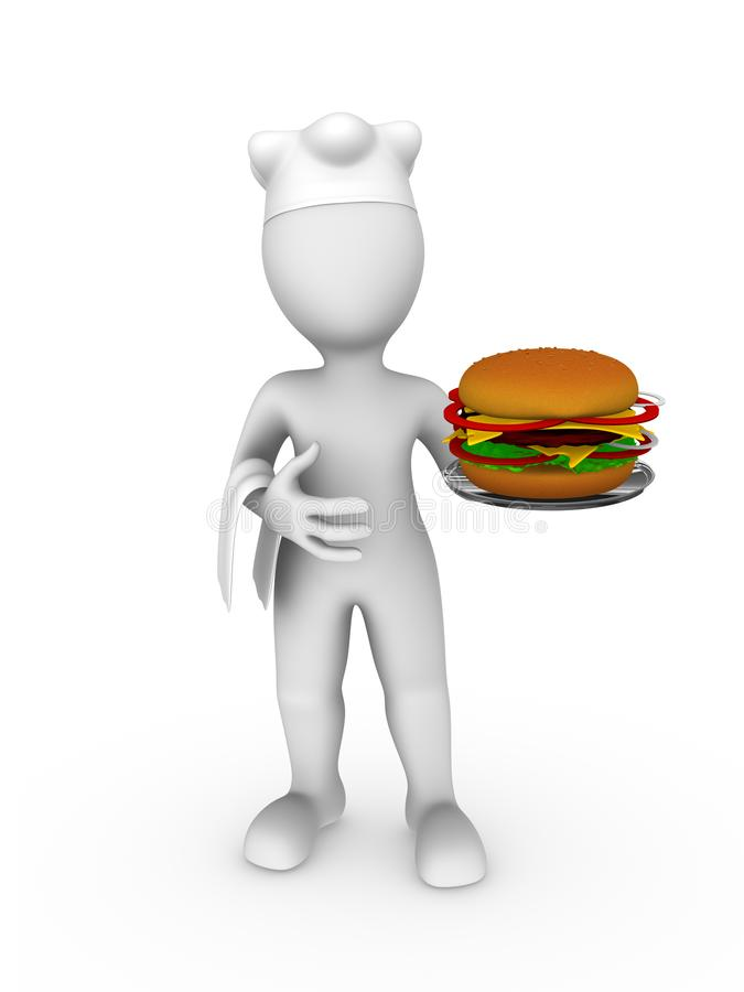3d biały człowiek w kucbarskiej nakrętce z hamburgerem ilustracja wektor