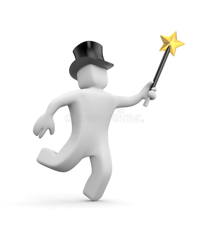 3d biały człowiek w magii różdżce i kapeluszu pośpiesza robi cudom ilustracja wektor