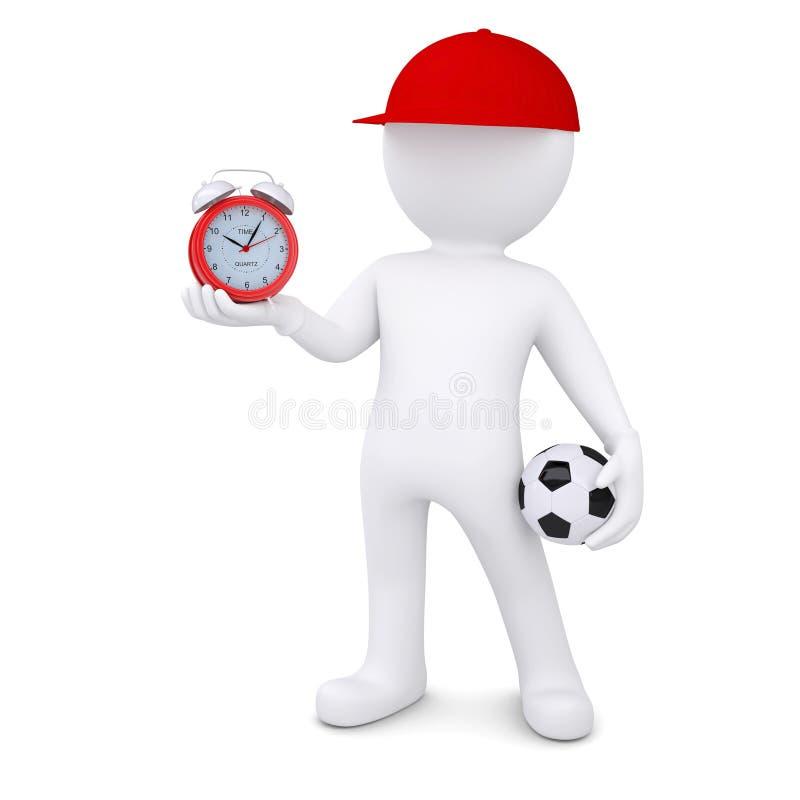3d biały człowiek z piłka nożna budzikiem i piłką royalty ilustracja