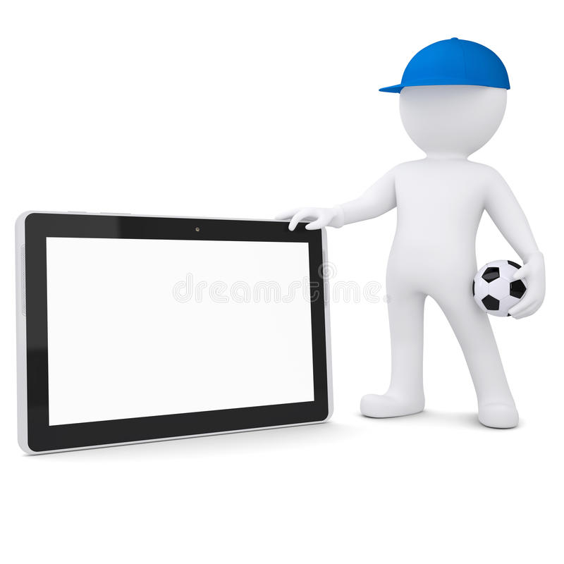3d biały człowiek z piłki nożnej pastylki i piłki pecetem ilustracji