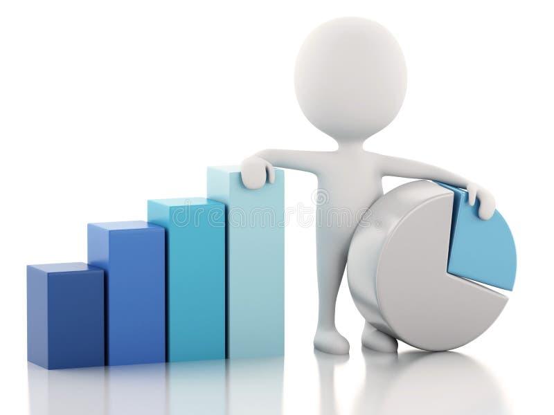 3d biały ludzie biznesowej statystyki wykresu 3 wymiarowe jaja ilustracji