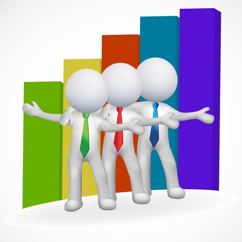3D białych człowieków biznes i prętowego wykresu wizerunku ikony wektorowa ilustracja ilustracja wektor