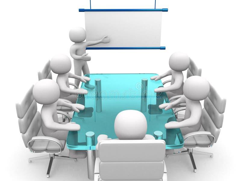 3d biali biznesowi persons przy warsztatem ilustracja wektor