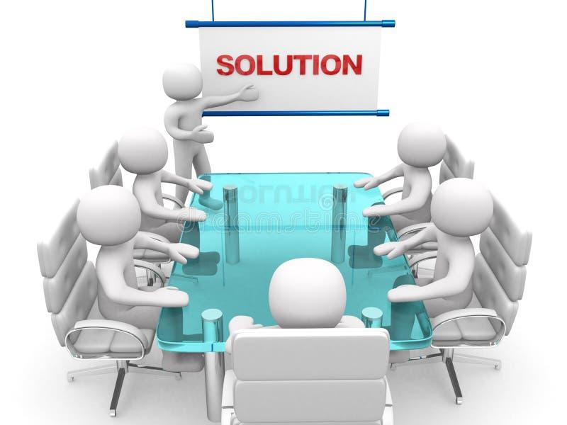 3d biali biznesowi persons przy warsztatem. Prezentacja ilustracja wektor