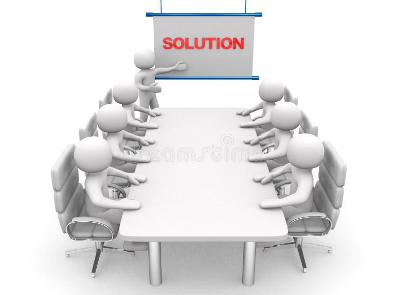 3d biali biznesowi persons przy warsztatem. Prezentacja ilustracji