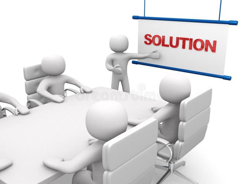 3d biali biznesowi persons przy warsztatem prezentacja ilustracja wektor