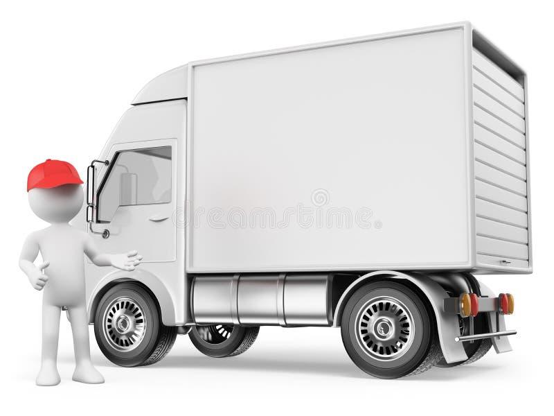 3D biali ludzie. Biała doręczeniowa ciężarówka ilustracja wektor