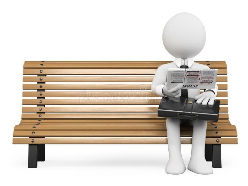 3D biali ludzie. Biznesmen patrzeje dla pracy w gazecie ilustracji