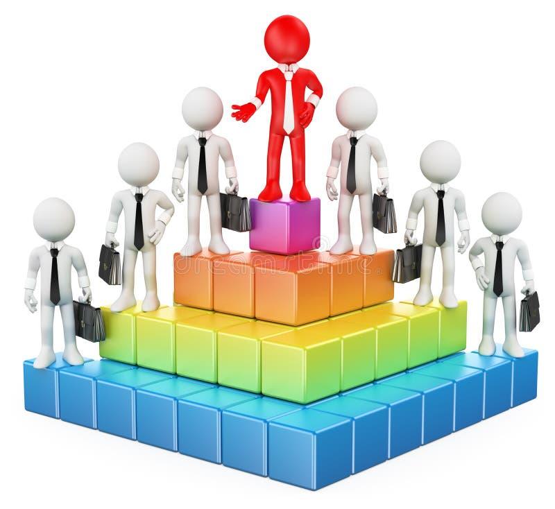 3D biali ludzie. Biznesowa hierarchia ilustracji