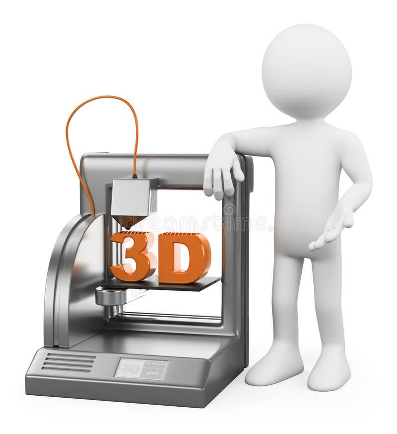 3D biali ludzie. 3D drukarka zrastający się świadkowanie royalty ilustracja