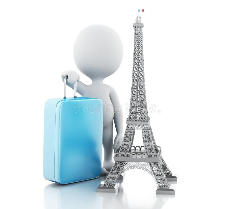 3d Biali ludzie i wieża eifla, podróż Paris pojęcie royalty ilustracja