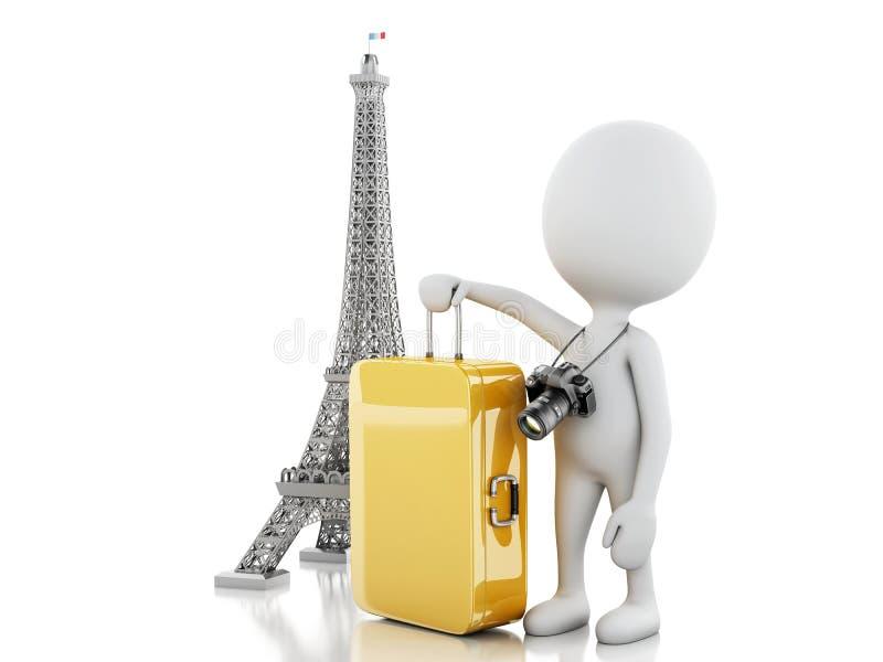 3d Biali ludzie i wieża eifla, podróż Paris pojęcie ilustracja wektor