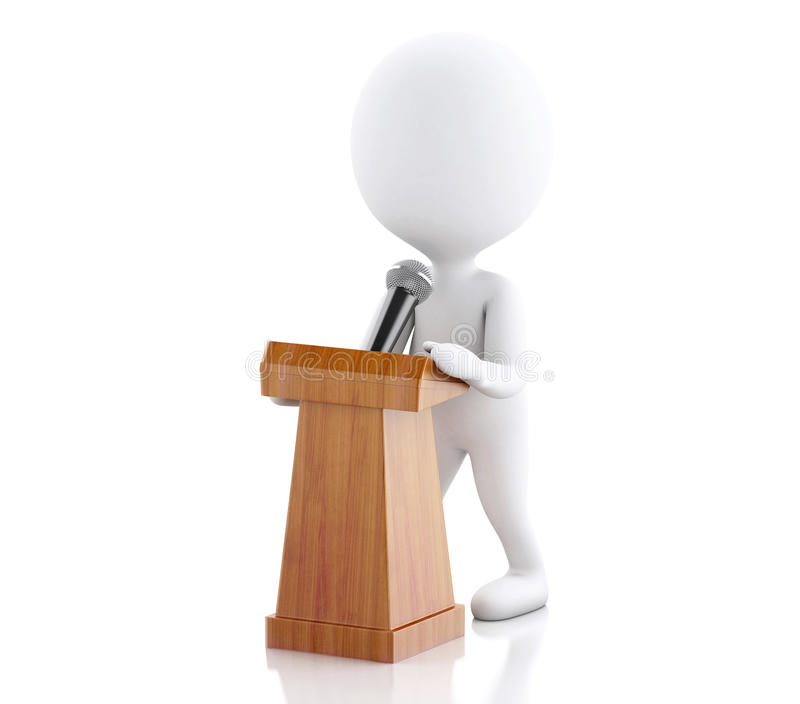 3d Biali ludzie mówi przy konferencją prasową ilustracji