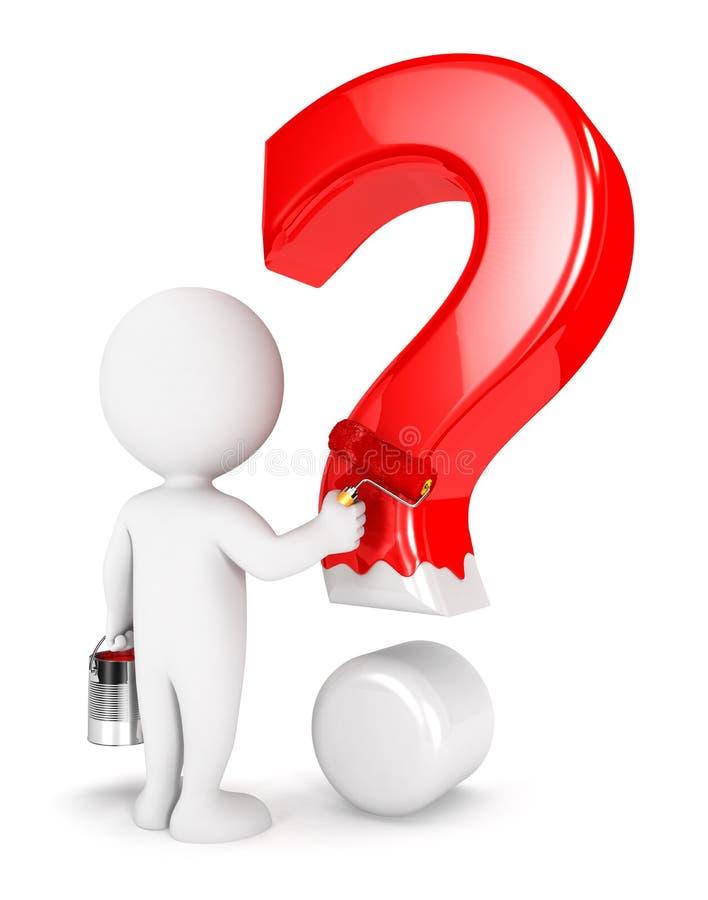 3d biali ludzie maluje znaka zapytania ilustracja wektor
