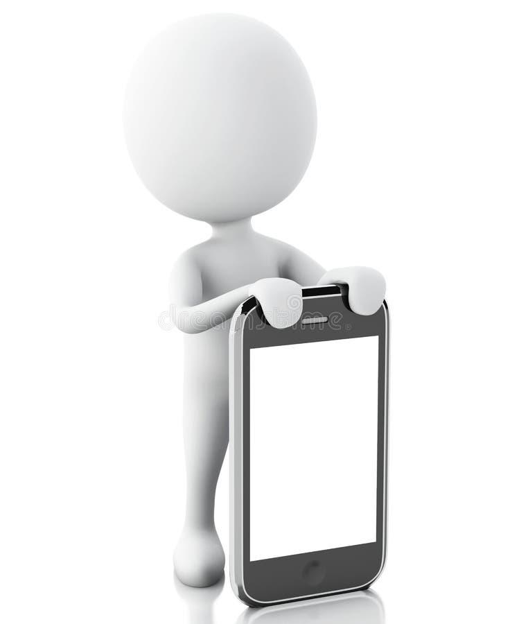 3d biali ludzie obok smartphone royalty ilustracja