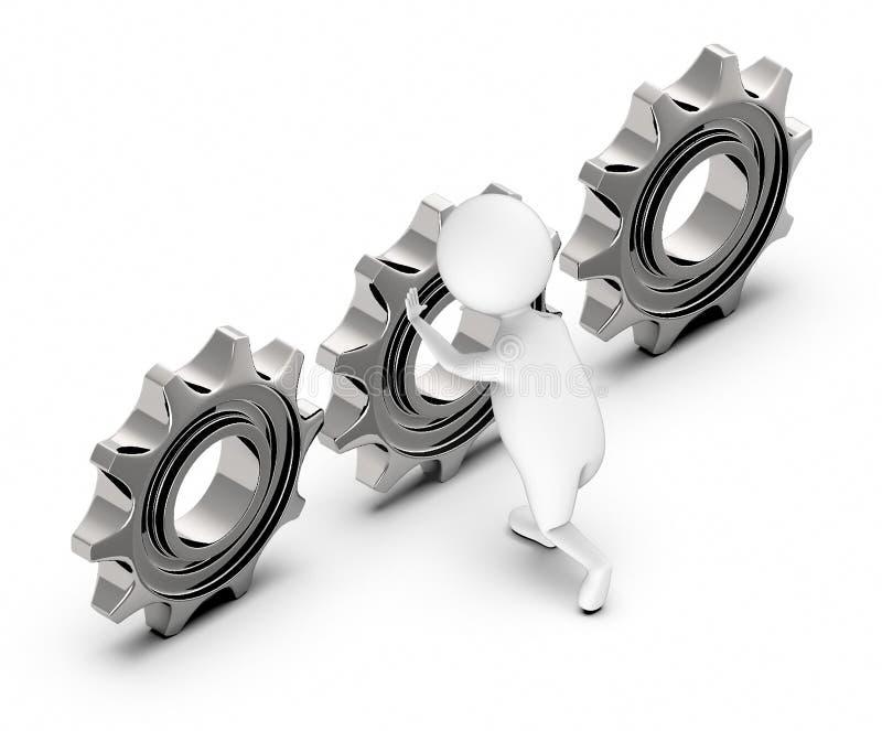 3d biali ludzie pcha cogwheel, przekładnię/ royalty ilustracja