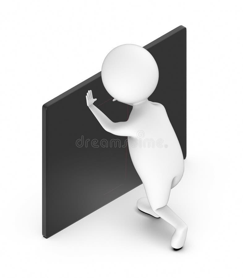 3d biali ludzie pcha czarną deskę ilustracji