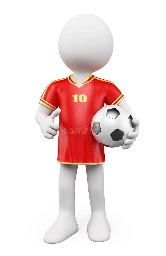 3D biali ludzie. Piłka nożna pucharu świata gracz. Czerwony bydło royalty ilustracja
