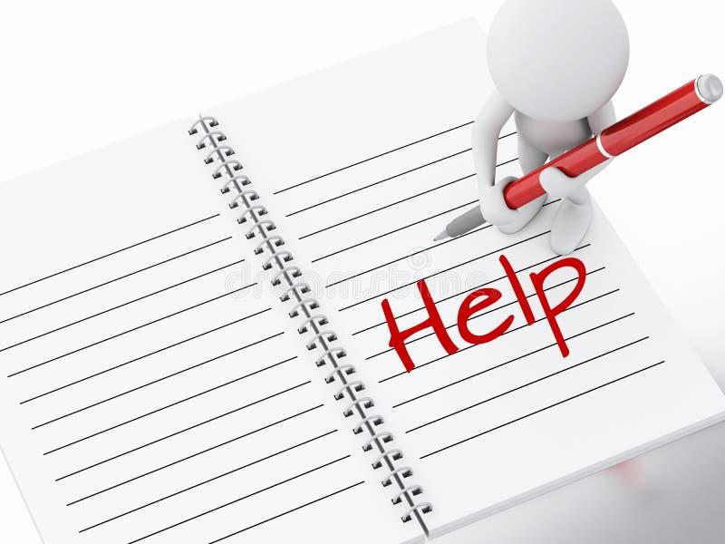 3d biali ludzie pisze pomocy na notatnik stronie ilustracja wektor