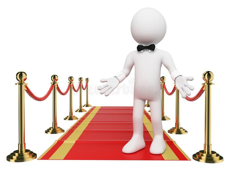 3D biali ludzie. Powitanie czerwony chodnik royalty ilustracja