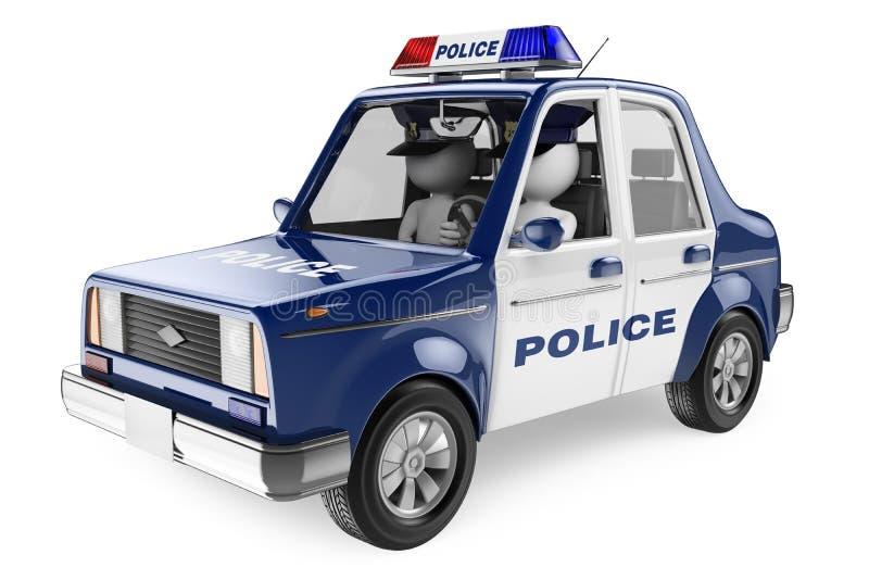 3D biali ludzie. Samochód policyjny royalty ilustracja