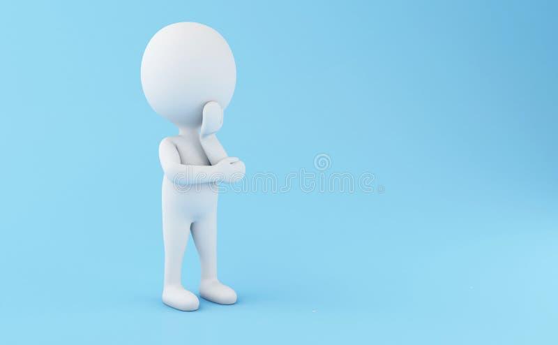 3d Biali ludzie stoi i myśleć ilustracja wektor