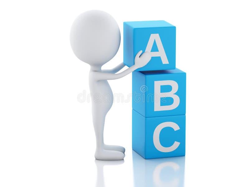 3d biali ludzie z ABC sześcianami na białym tle royalty ilustracja