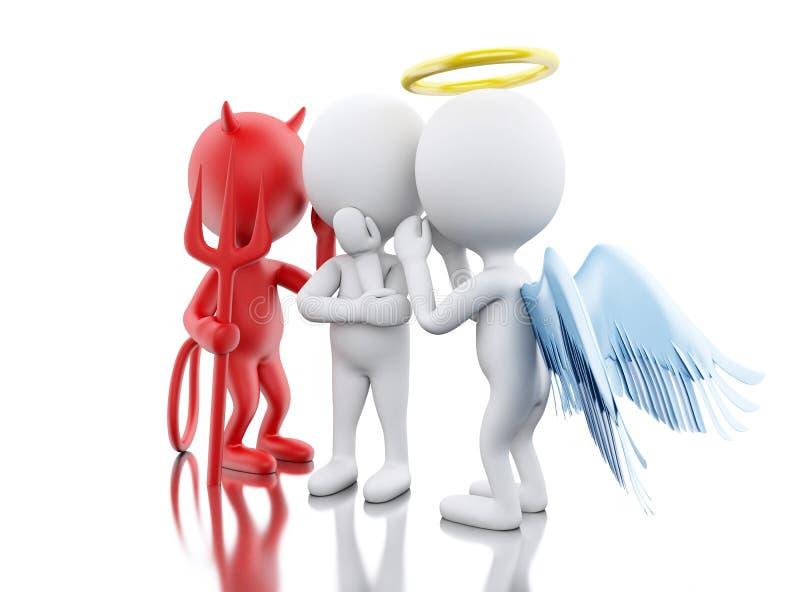 3D Biali ludzie z aniołem i diabeł ilustracji