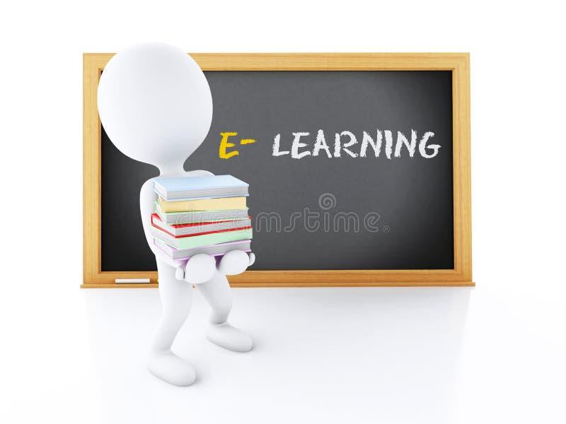 3d Biali ludzie z książkami i blackboard royalty ilustracja