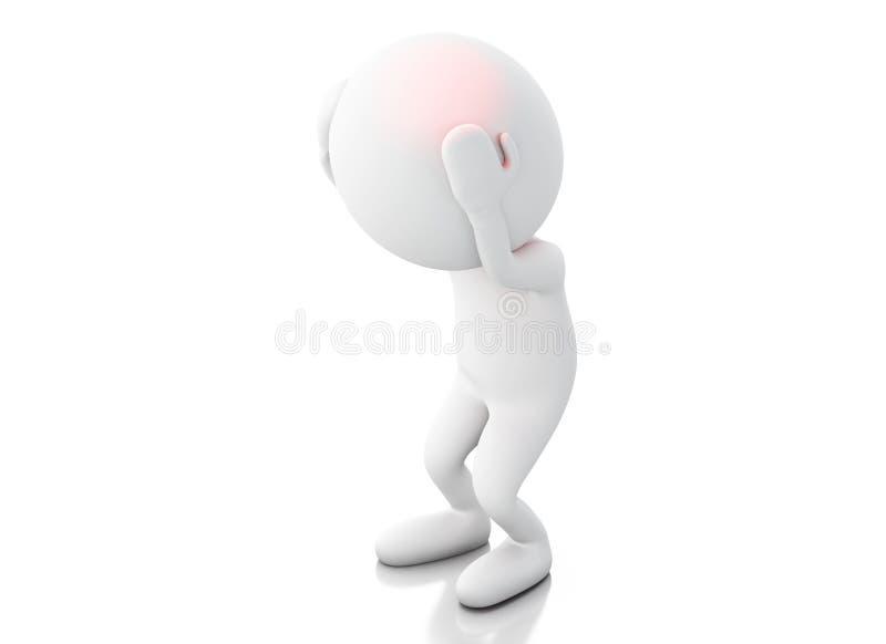 3d biali ludzie z migreną ilustracji