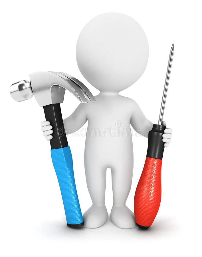 3d biali ludzie z narzędziami ilustracji