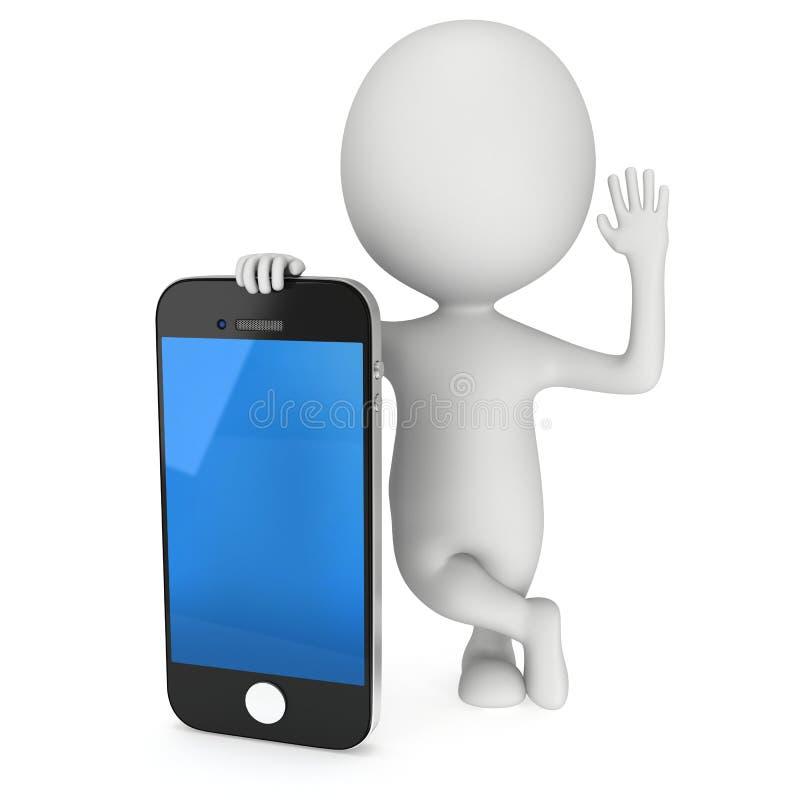 3d biali ludzie z smartphone royalty ilustracja