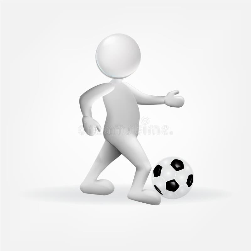 3D biali mali ludzie z piłki nożnej piłki ikony logem ilustracja wektor