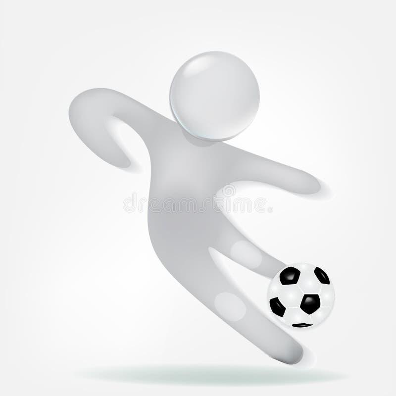 3D biali mali ludzie z piłki nożnej piłki ikony logem ilustracji
