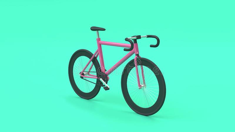 3d bicicleta rosada 3d rendir el fondo del verde del estilo de la historieta, concepto de la ciudad del transporte que va libre illustration