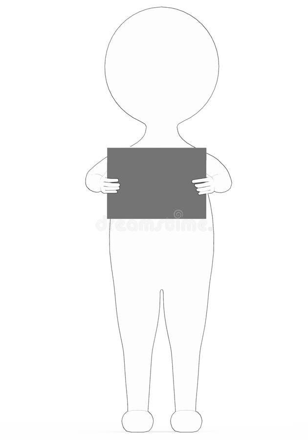 3d biel - czarnego zewnętrznego prążkowanego charakteru czytelnicza książka ilustracji