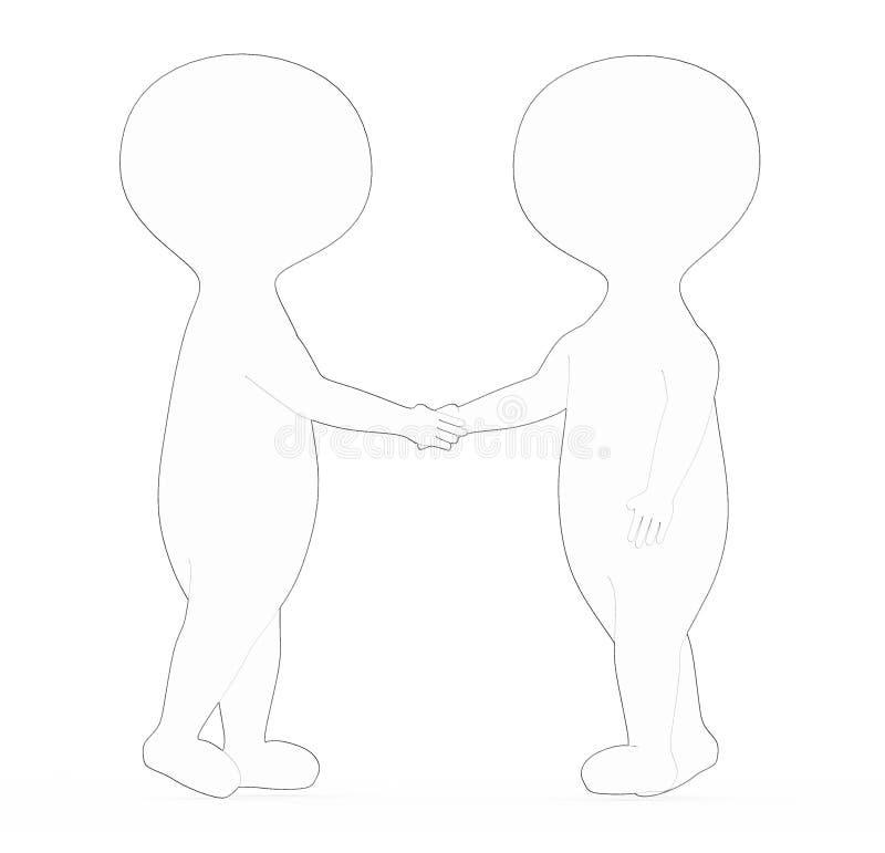 3d biel - czarny zewnętrzny prążkowany charakteru potrząśnięcie wręcza each inny ilustracji