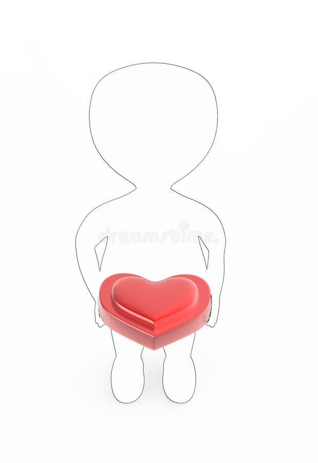 3d biel z czarnym krawędzi uderzenia charakterem trzyma serce kształtował pudełko w ręce royalty ilustracja