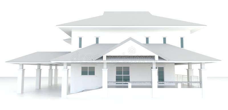 3D bielu domu architektury zewnętrzny projekt w białym tle royalty ilustracja
