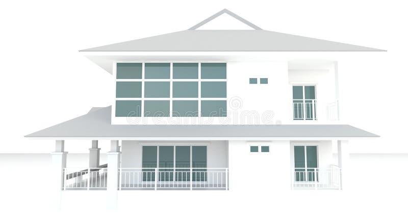 3D bielu domu architektury zewnętrzny projekt w białym tle ilustracja wektor