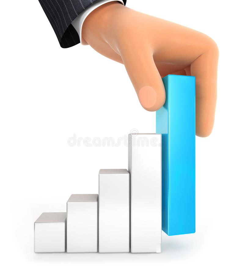 3d big hand and bar chart. Illustration with isolated white background royalty free illustration