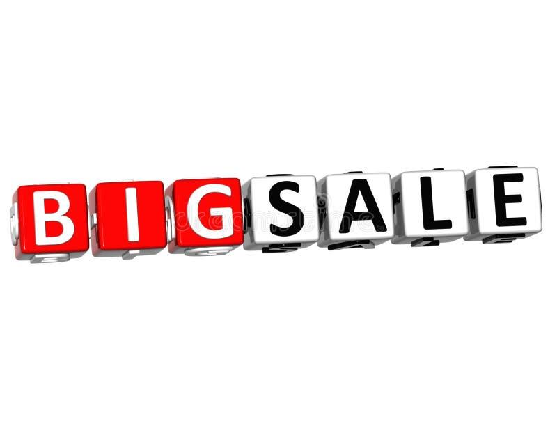 3D Big Sale Button Click Here Block Text stock illustration
