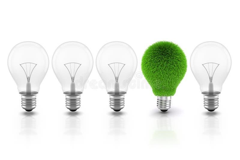 3d Bild der Glühlampe, stützbares Energiekonzept lizenzfreie abbildung