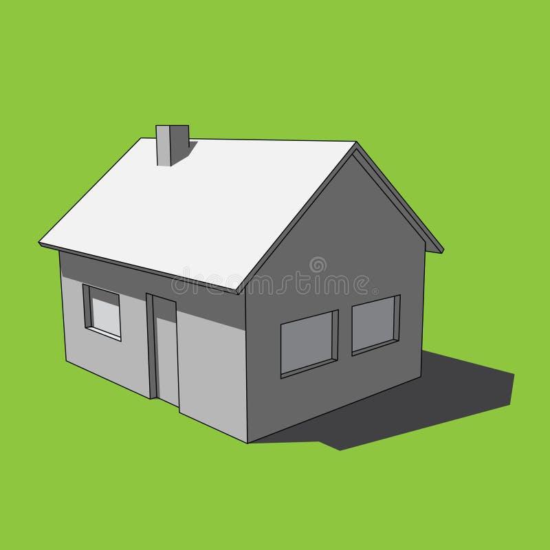 3D Bild - einfaches lokalisiertes Haus des Grayscale vektor abbildung