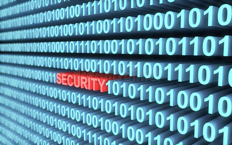 3d binarny kod w błękicie słowo ochrona w czerwieni z głębią pole ilustracji