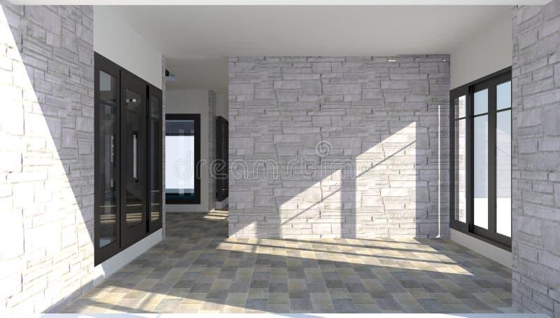 3D binnenland van de ruimte binnen een modern baksteenhuis vector illustratie
