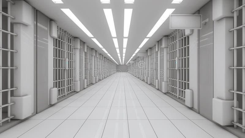 3d binnenlandse Gevangenis stock afbeelding