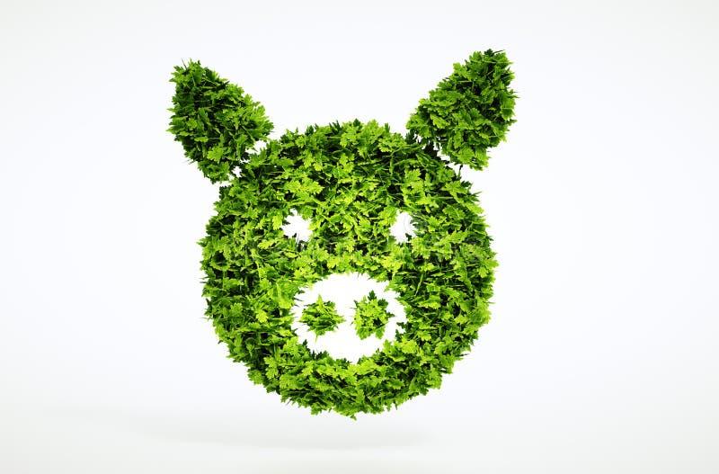 3d bio pork sign. stock illustration